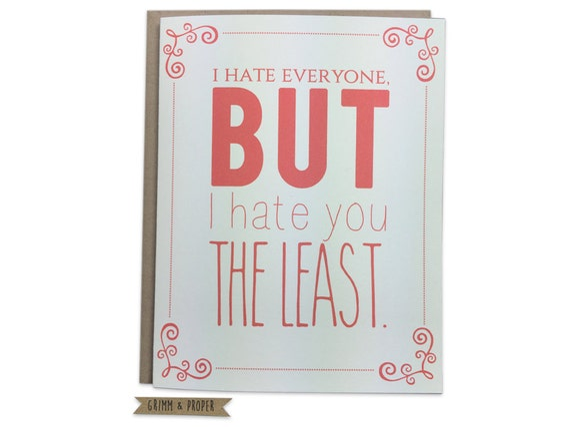 Funny Valentine's Day Card, Anti-Valentine, Grumpy, Anniversary, Antisocial, Introvert, Humor, Boyfriend, Girlfriend, Friend I Hate Everyone