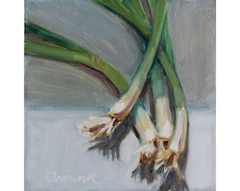 Green Onions on Gray - Spring Vegetables - Art for your Kitchen - Food Painting
