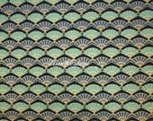 Fan, navy blue, gold metallic, 1/2 yard, pure cotton fabric