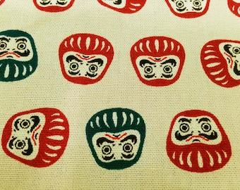 Japanese daruma dolls, beige, 1/2 yard, pure cotton fabric