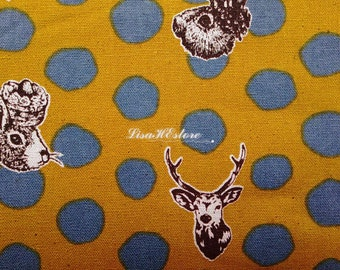 Rabbit and deer, gray dots on mustard yellow, fat quarter, pure cotton fabric