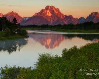Grand Teton National Park at Sunrise Landscape Photograph Mount Moran Reflection at Oxbow Bend Fine Art Photography Snake River Mountain
