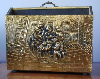 Vintage Early American Repousse Brass File/ Magazine - Holder - Organizer - Home and Hearth - Mid Century