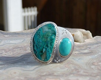 Chrysocolla Turquoise Multi Stone Sterling Silver Ring Size 7