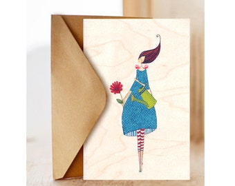 "Wood card  ""Birthday flower-2"", Romantic, Happy Birthday Card , Birthday Card for Friend, Optimisitc"