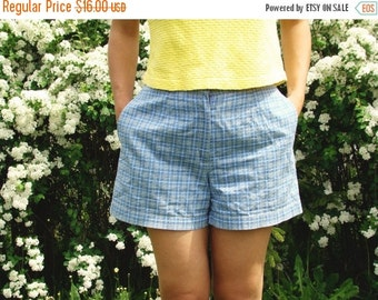SALE Vintage 90's Blue Checked Shorts