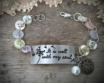 """Vintage Button """"It Is Well"""" Bracelet - Assemblage Button Jewelry - Altered Vintage - Handmade - Inspirational - Religious - Shabby Chic"""