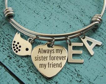 sister bracelet, sister gift, sister jewelry, Always my sister forever my friend, birthday gift for sister, wedding gift for sister