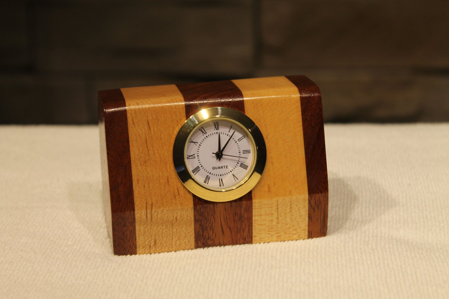 Wooden desk clock table