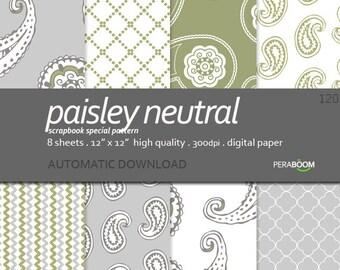 "Scrapbook Digital Paper + Paisley neutral 120 + Quality Paper Pack  (12 x 12"")  8 sheets + Classic + Elegant + Neutral colors + Beautiful"