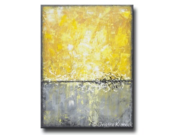 "GICLEE PRINT of Yellow Grey Abstract Painting Minimalist LARGE Art Wall Art Home Decor Modern Coastal Canvas Prints Sizes to 60"" - Christine"