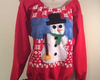 Womens Custom Altered Ugly Christmas Sweater Snowman Flex Fleece    Pullover Sweatshirt -