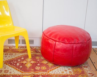 Antique Revival Leather Moroccan Pouf Ottoman - Cherry Red