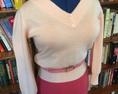 COTTON CANDY--1950s Soft as Butter Cashmere V Neck Sweater in Baby Pink