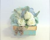 Gift Box Vintage Blue Gift Card Holder Pre-wrapped Gift Box Wedding Favor Bridesmaid Gift Gift, Tip Box, Elegant, Romantic, Rhinestone