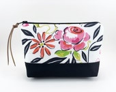 Rose Zipper Pouch, Small Cosmetic Bag, Gadget Pouch, Accessory, Patchwork, Gift idea, Padded