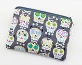 Gray Skulls Zipper Coin Purse, Small Pouch, Little Gadget Case, Card Wallet, Gift idea, Padded
