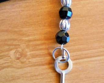 Outer Space - black glass and silver hairstick with handcuff key