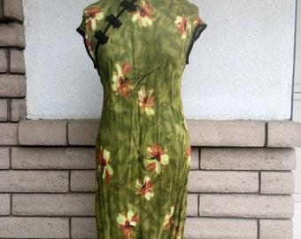 80s Olive Green Sheer Cheongsam Maxi Dress Size S-M TALL