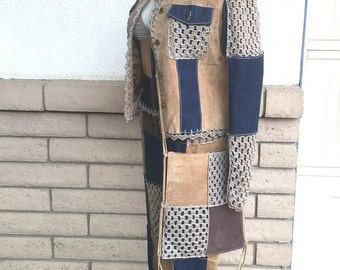 RARE Crocheted Suede & Denim Patchwork Pantsuit Outfit by Wilson's Leather Size M-L