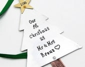 Our First Christmas Ornament, Couples Ornament, Hand Stamped Christmas Ornament First Christmas as Mr and Mrs, Wedding Ornament