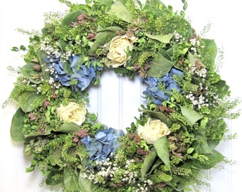 Dried Floral Wreath with Hydrangea, Wall Decor, Hydrangea Wreath