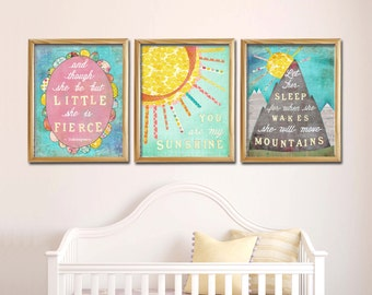 Girl Nursery Wall Art Set of 3, Let Her Sleep for when she Wakes she will Move Mountains, You are my Sunshine, She is Fierce, Lily Cole