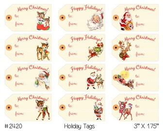 Digital Clipart, instant download, Vintage Christmas Tags, gift tags--reindeer, Santa Claus--8.5 by 11 Digital Collage Sheet 2420
