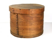 "cheese box, wood, round, large, 18"" x 13"", storage, rustic, organization, industrial, end table, planter"