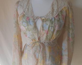 JUST TOPS vintage 70's bohemian charm floral lace blouse jacket top SM