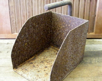 Rusty Old Industrial Factory Open End Scoop Tote Storage Bin