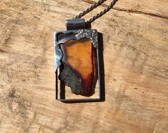 Rustic Raw Amber Sterling Silver art pendant