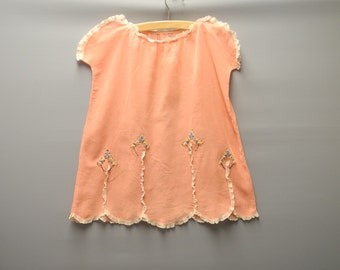 Vintage Baby Clothes, 1920's Handmade, Coral Pink and Cream Lace Cotton Voile Embroidered Dress, Vintage Baby Dress, Size 3T