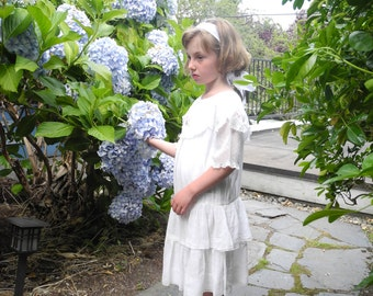 Vintage Girls Clothes, 1920's Handmade White Drop Waist Girl's Dress, Vintage Girls Dress, White Girls Dress, Size 6-6X