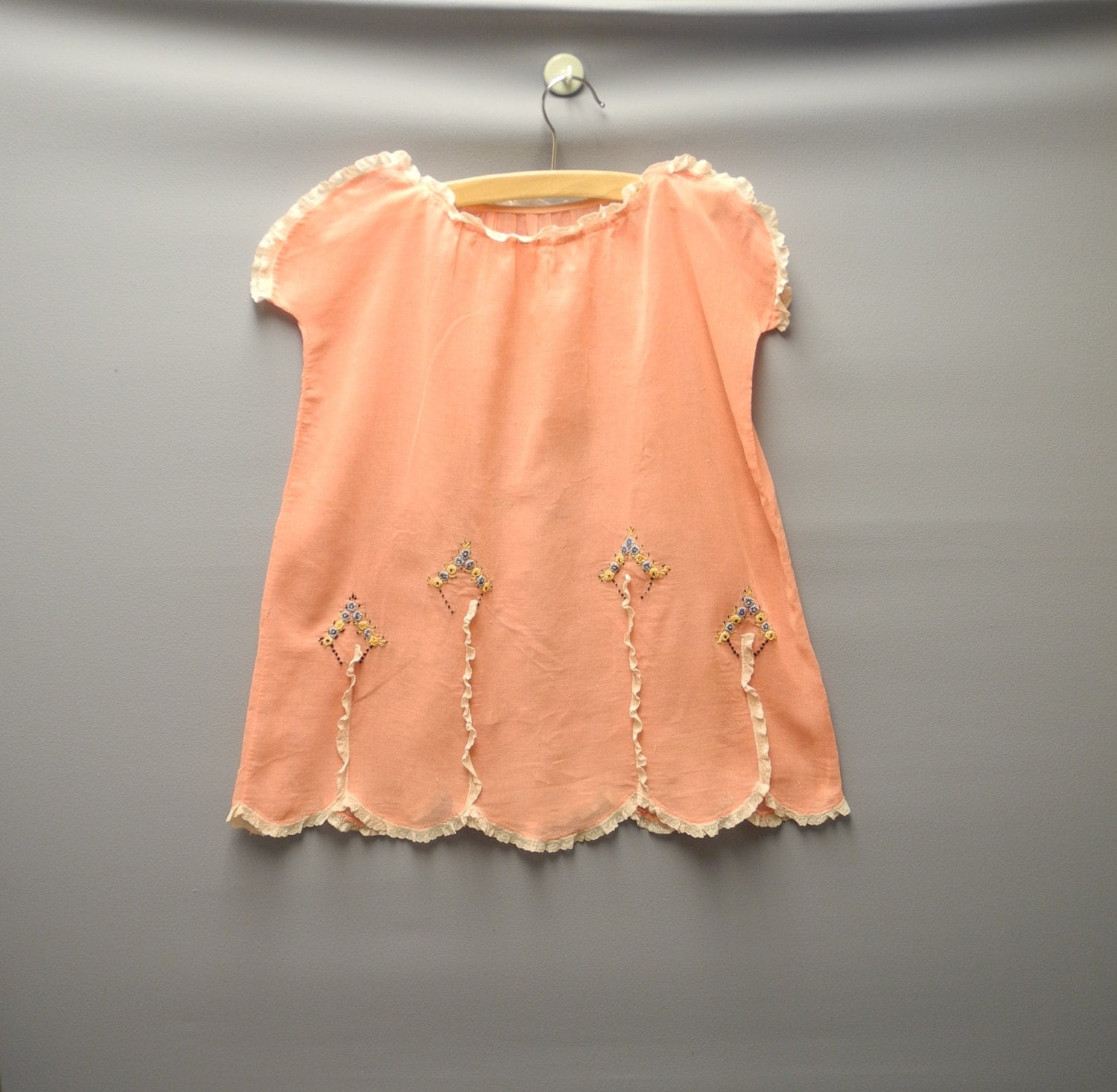 Vintage Baby Dress 1920 s Handmade Coral Pink and Cream