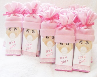 Baby Shower Favors.  - special Hershey bars with handmade hats. Super cute for baby shower!