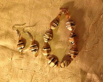 Stripes: Handmade Brown Acrylic Bracelet and Earrings Set
