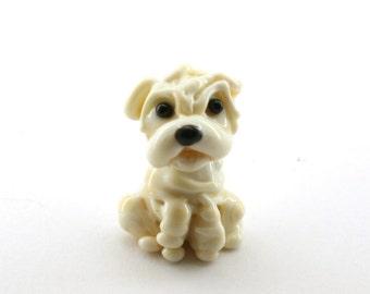 Sharpei  dog artisan Lampwork glass  sculpture / miniature / figurine