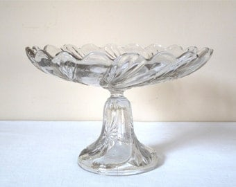 Antique french Glass footed compote plate French Cake dish Antique pedestal Bowl Flowers Cake Stand