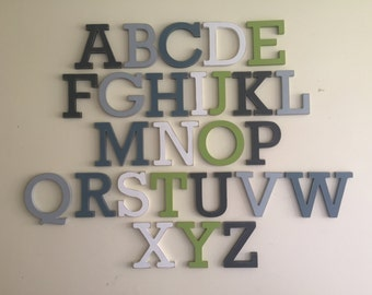Full Wooden Alphabet - Hand Painted Wooden Letters Set - 26 letters - 15cm high, Rockwell, any colour