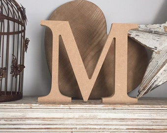 wooden letters, free-standing, unpainted, georgia font, M, 20cm - READY TO SHIP