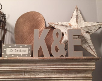 Wooden Wedding Letters, Set of 3 - Photo Props - 20cm Top Table - Ariel Font