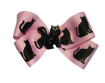 Large Black Cat Pink Hair Bow