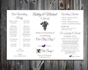Wine Grapes Rustic Vineyard  Wedding Placemat PDF Digital Personalized File