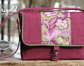 Marigold Messenger Bag in Raspberry/grape coloured denim and Tula Pink Chipper Chipmunk, purse, bag, Cross Body