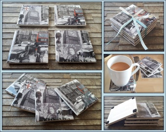 Black and White London Coasters - Glossy Resin Coasters - Set of 4 - Decoupage Coasters