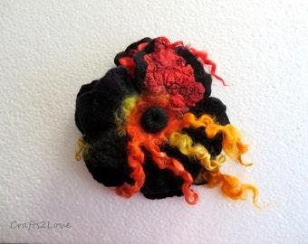 Large Black Poppy brooch. Nunofelt flower brooch pin corsage flower felt poppy, scarlet red orange yellow black. Shawl pin.