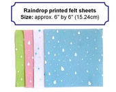 Felt squares raindrop fabric printed felt polyester arts and crafts 6inch uk