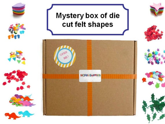 Felt supplies die cut felt shapes arts and crafts mystery box for Felt arts and crafts