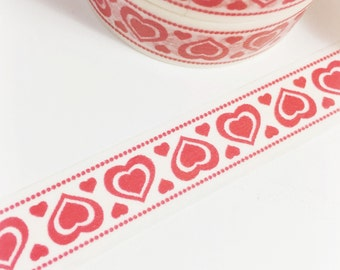 Valentine Washi Tape Red Heart Washi Tape Red Hearts and Dots Washi Tape 11 yards 10 meters